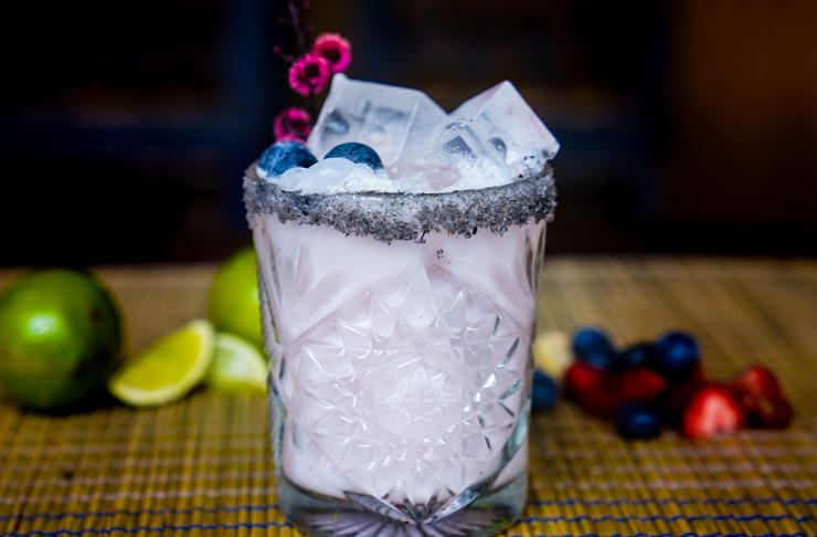 blueberry margarita at bar