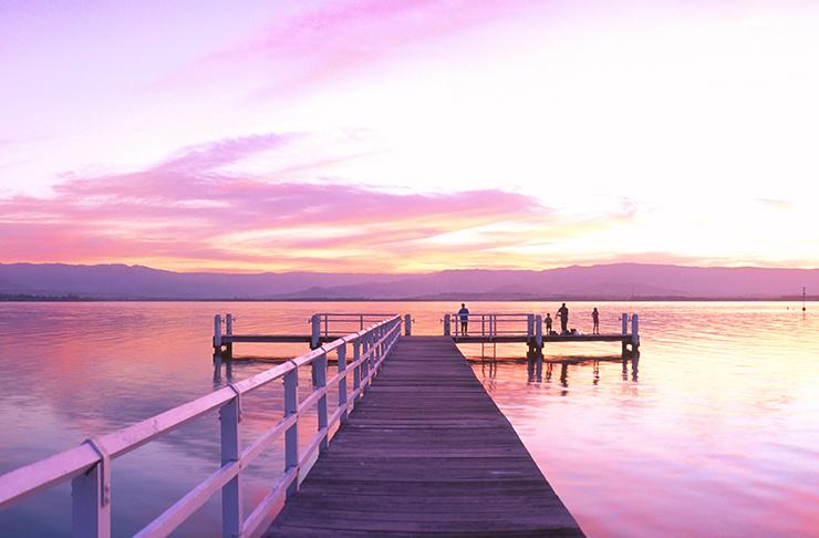 lake illawarra at sunset