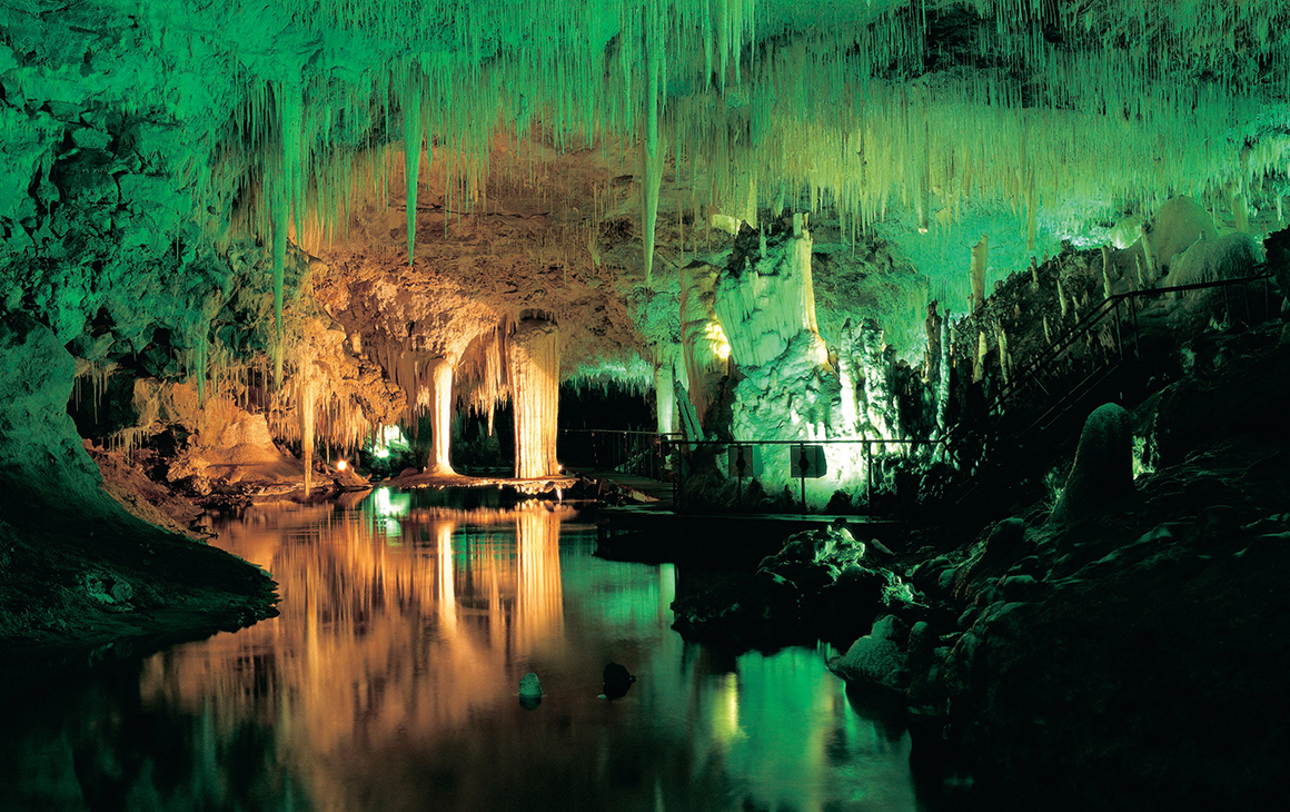 Jewel Cave light up by green lights