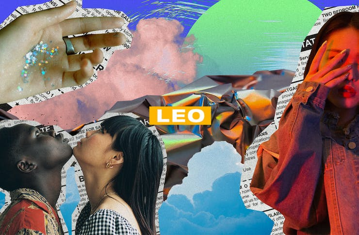 a colourful collage of images with the text Leo on top.