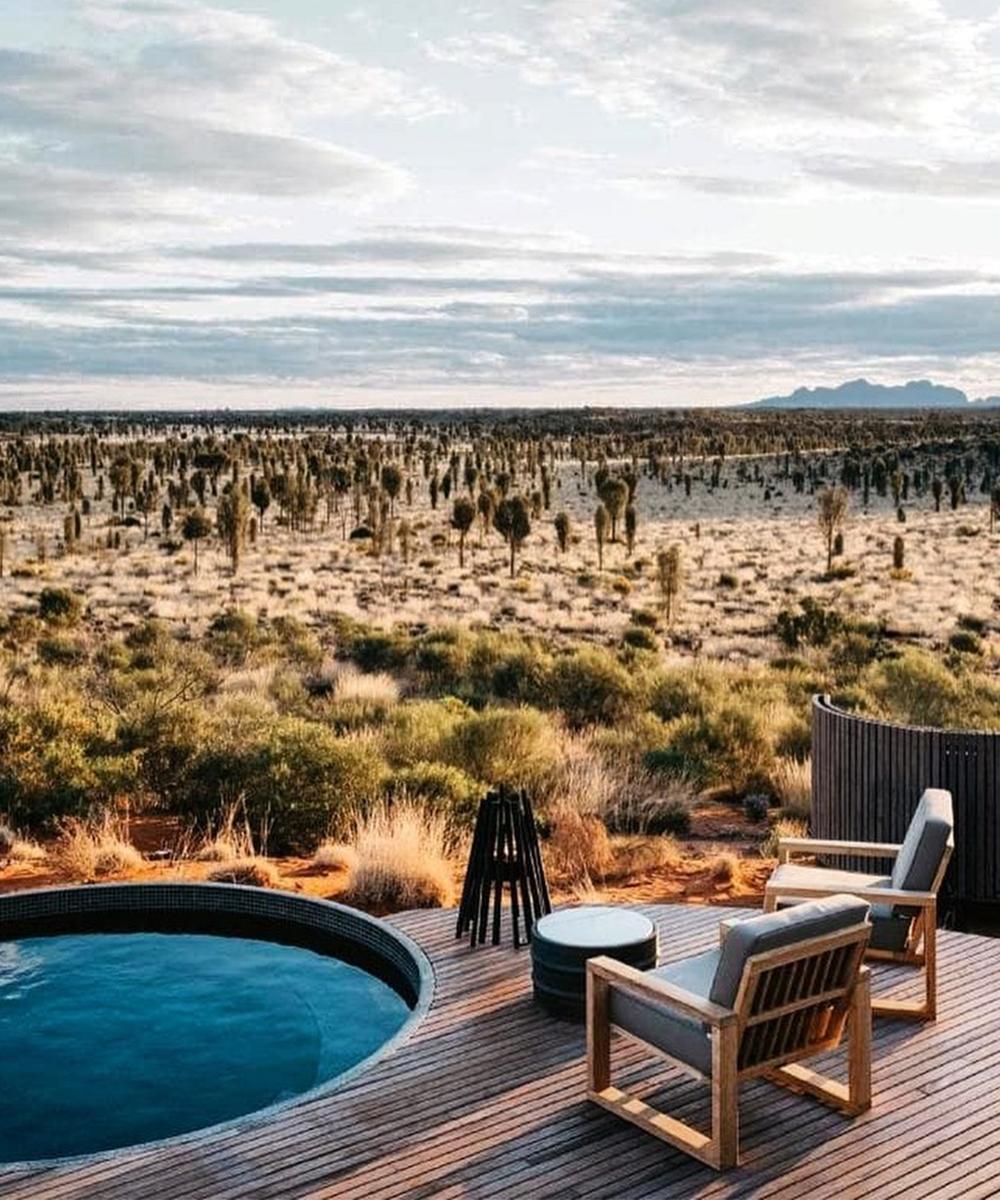 a sunken bath on the deck of Longitude in Uluru.