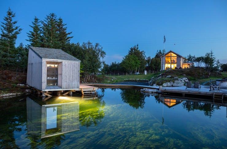 manhausen eco resort on waters edge in norway
