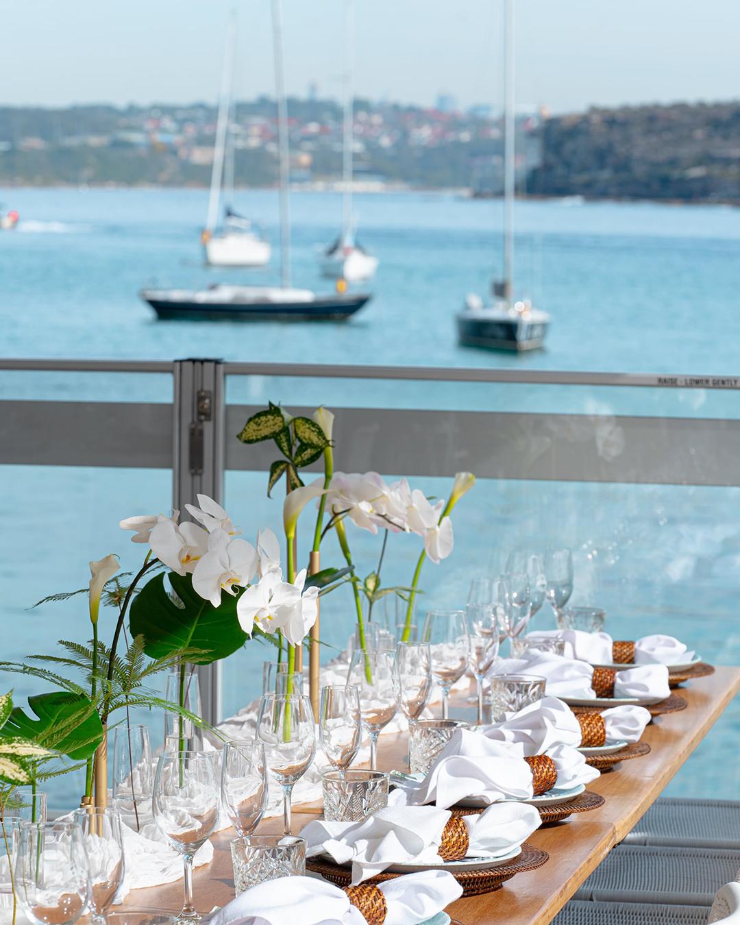 outdoor dining overlooking water