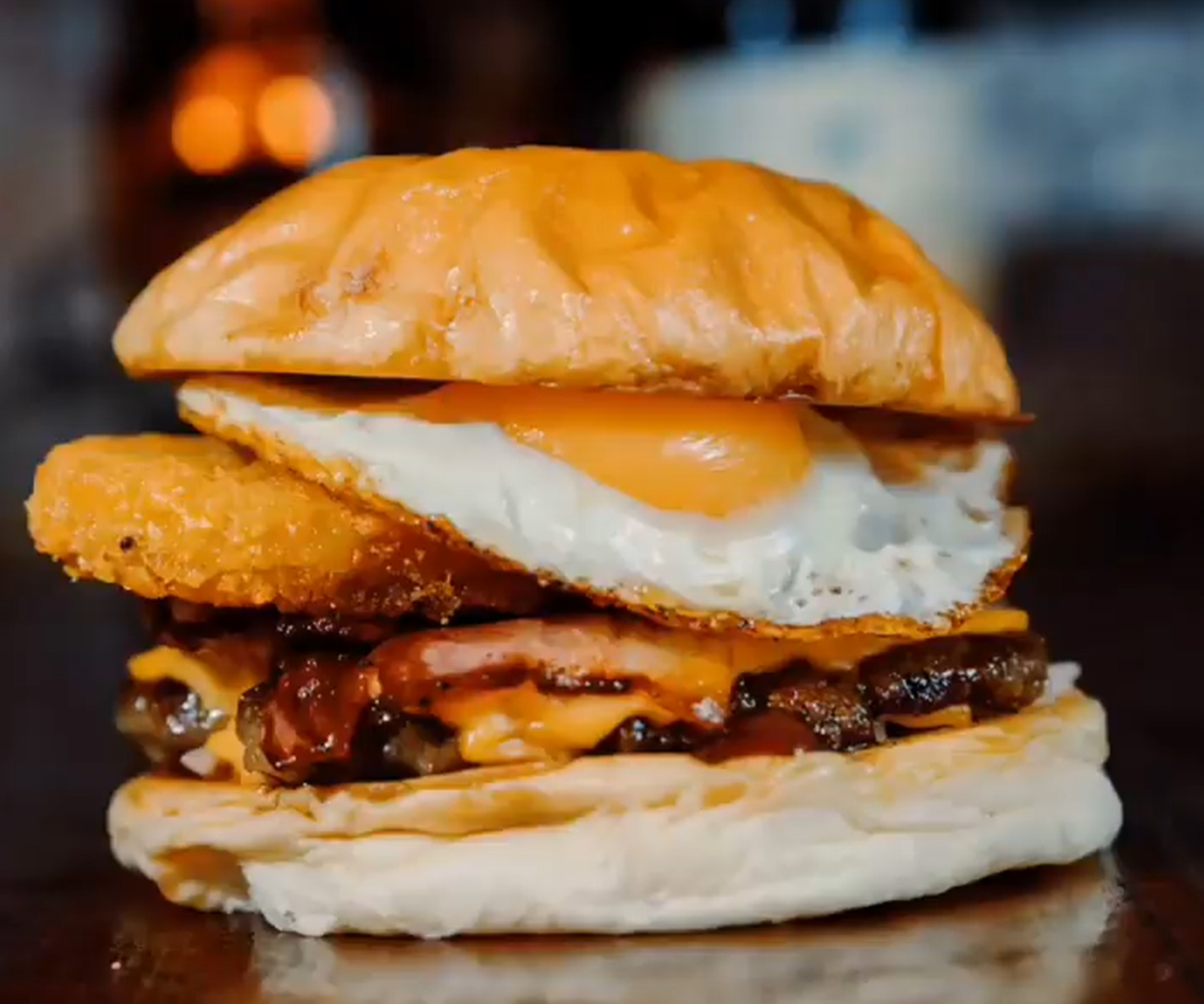 mary's loaded bacon and egg breakfast burger with gooey egg