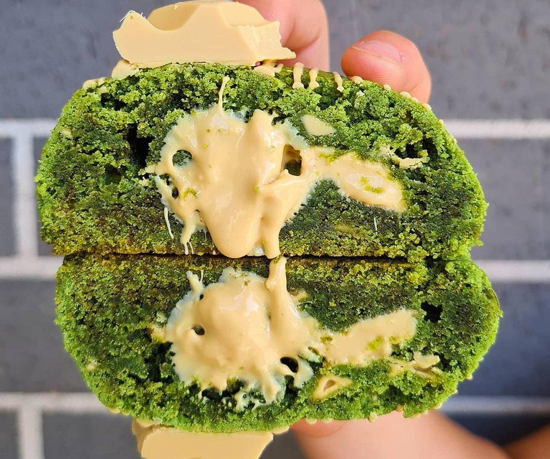matcha cookie with caramilk