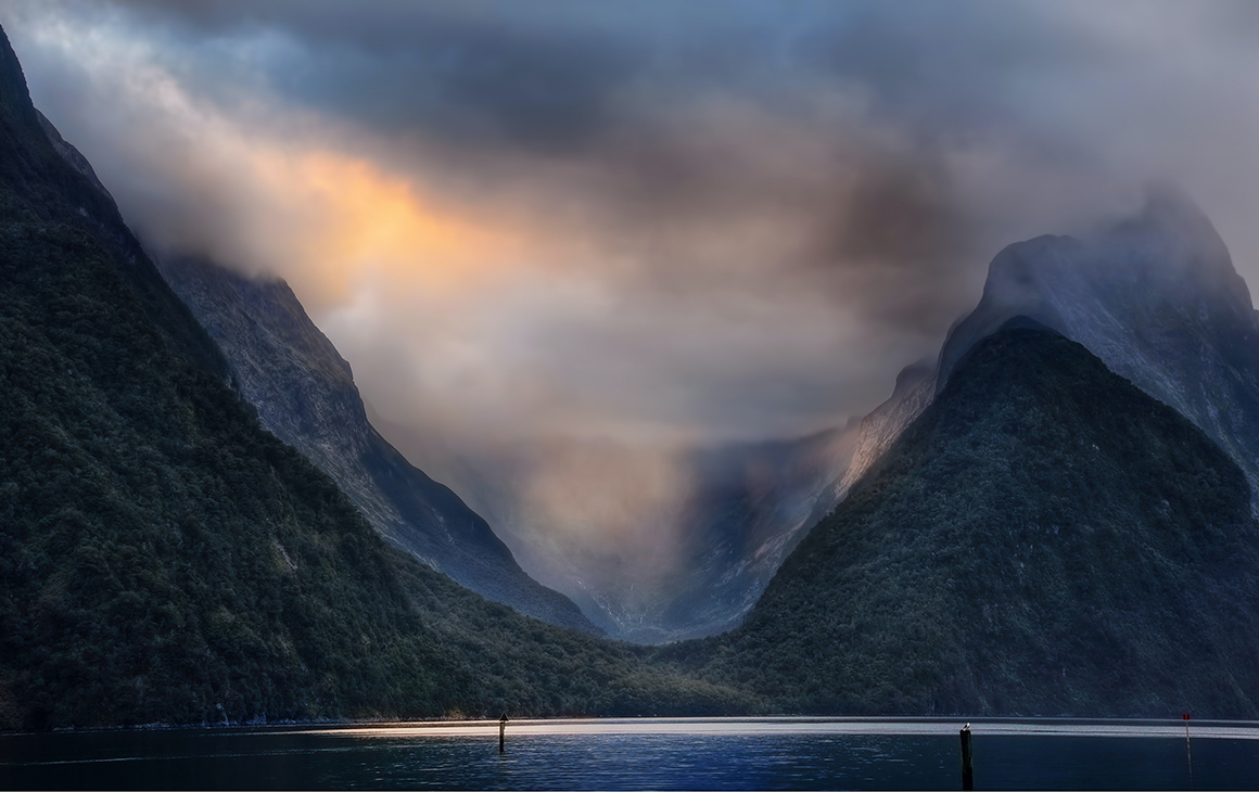 a sunset scene at Milford Sound