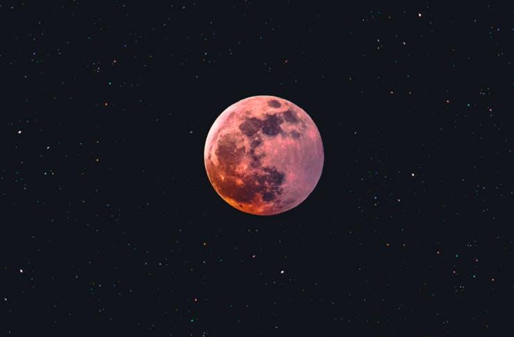 full moon in starry night sky