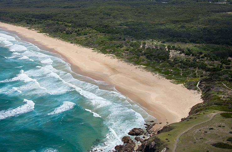 aerial view of moonee beach