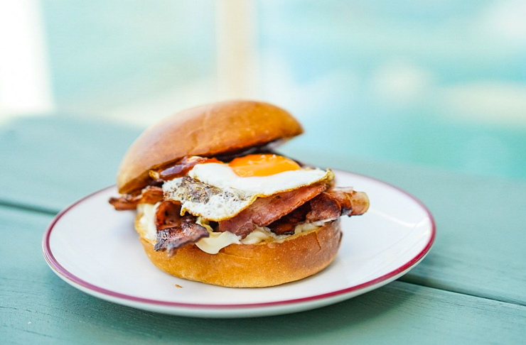 egg and bacon roll with bbq sauce