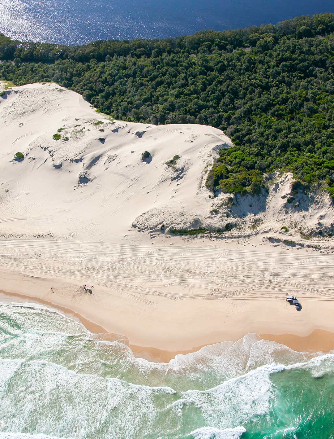 aerial of 4wd on sand