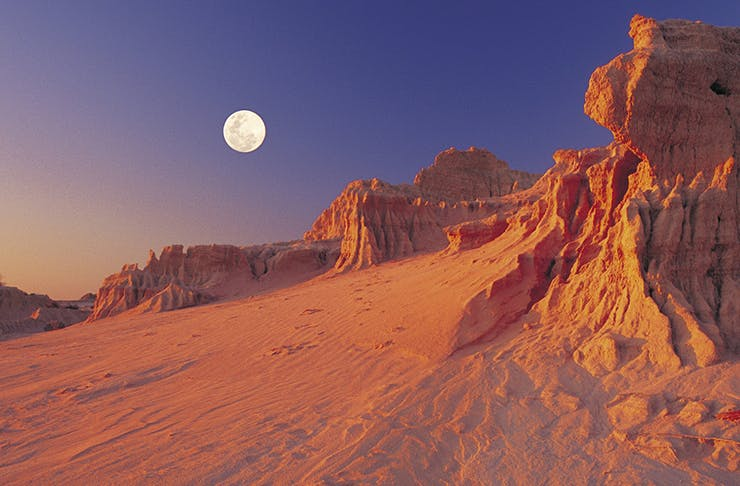 full moon over great walls of china in NSW's Mungo National Park