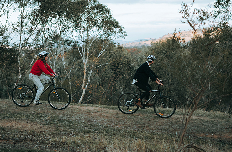 two people riding bikes on bushy ridge