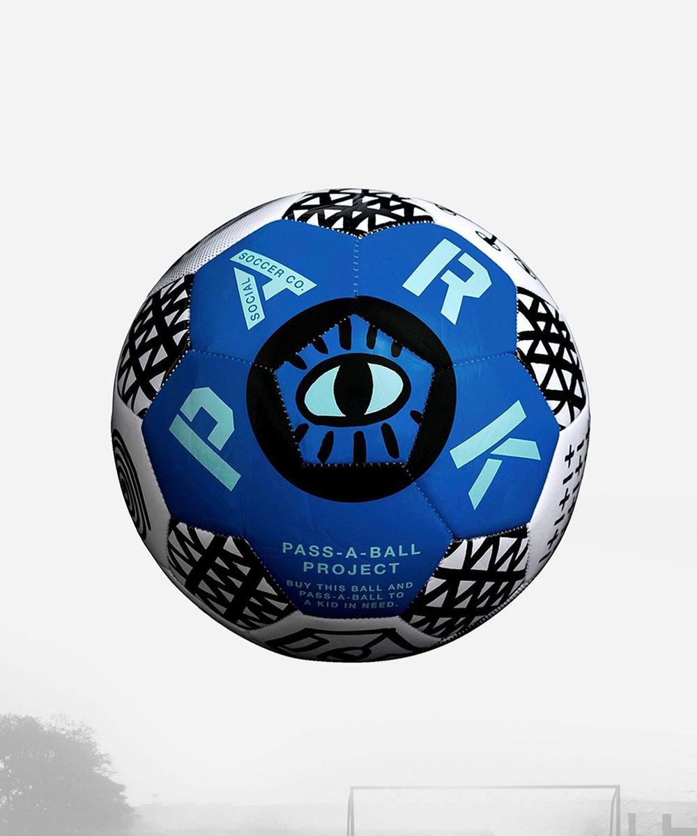 a colourful blue soccer ball