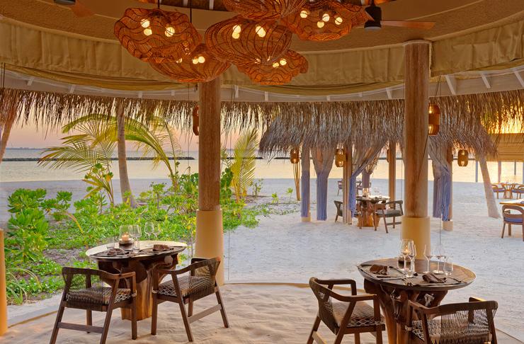 interior of restaurant at nautilus maldives