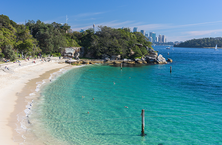 topical waters of sydney harbour beach surrounded by lush bushland