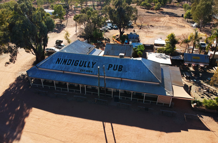 top down view of ninidigully pub in queensland during the day