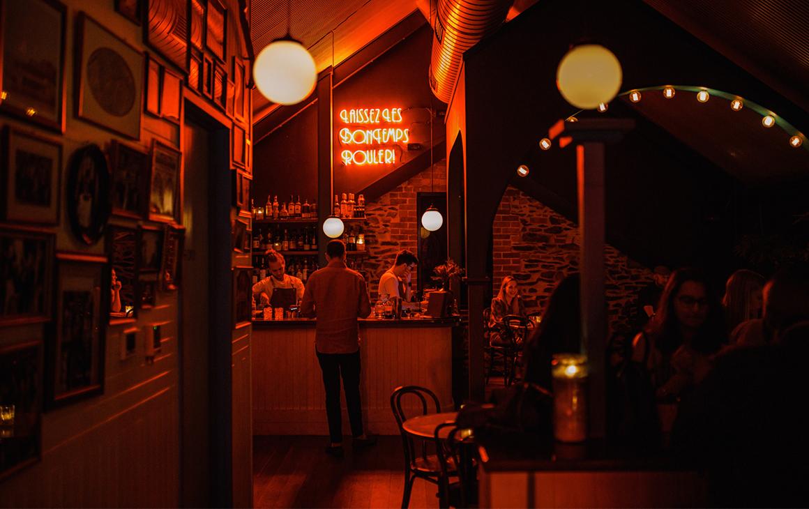 interior of NOLA at night