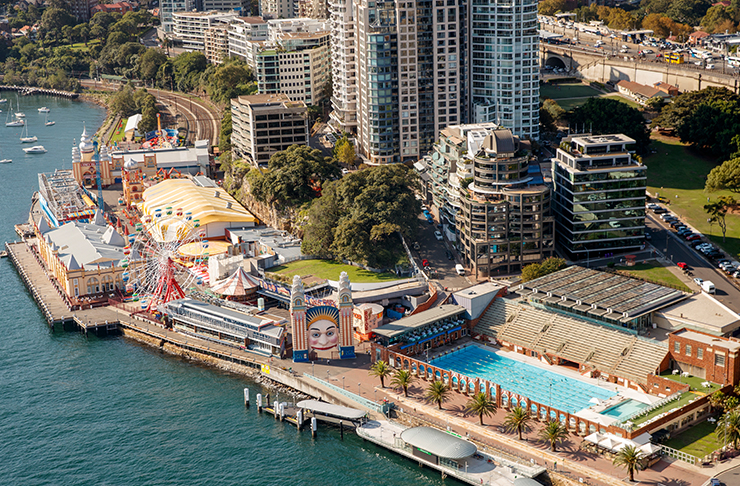 aerial view of pool in sydney harbour