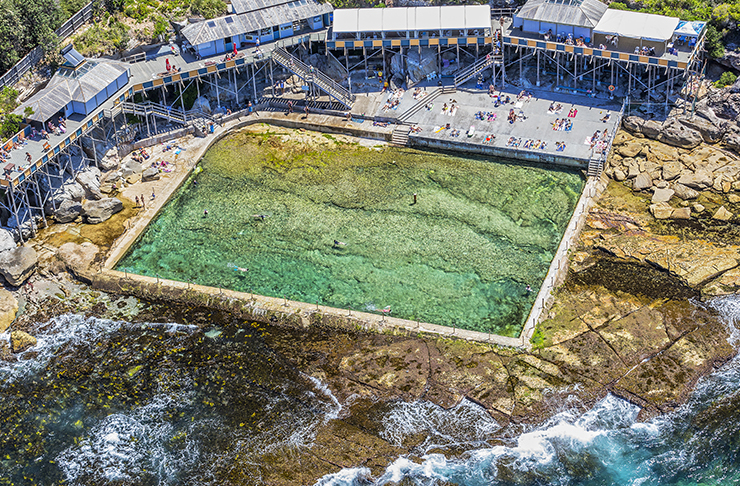 aerial view of ocean pool