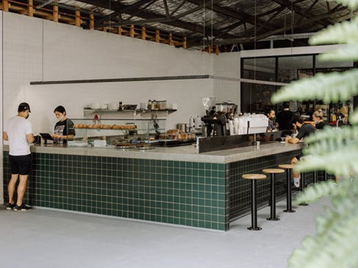 industrial style cafe inside mini warehouse