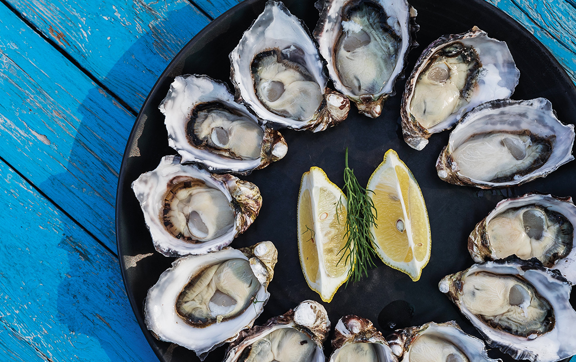 a plate of freshly shucked oysters on a blue painted table.