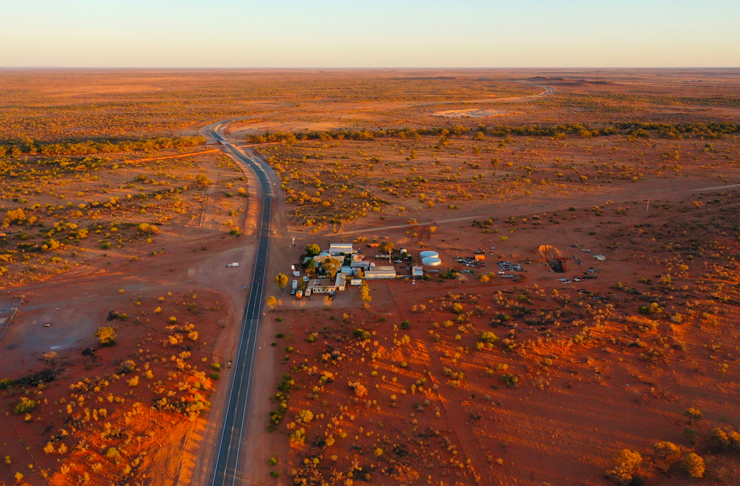 aerial view of pacsaddle roadhouse