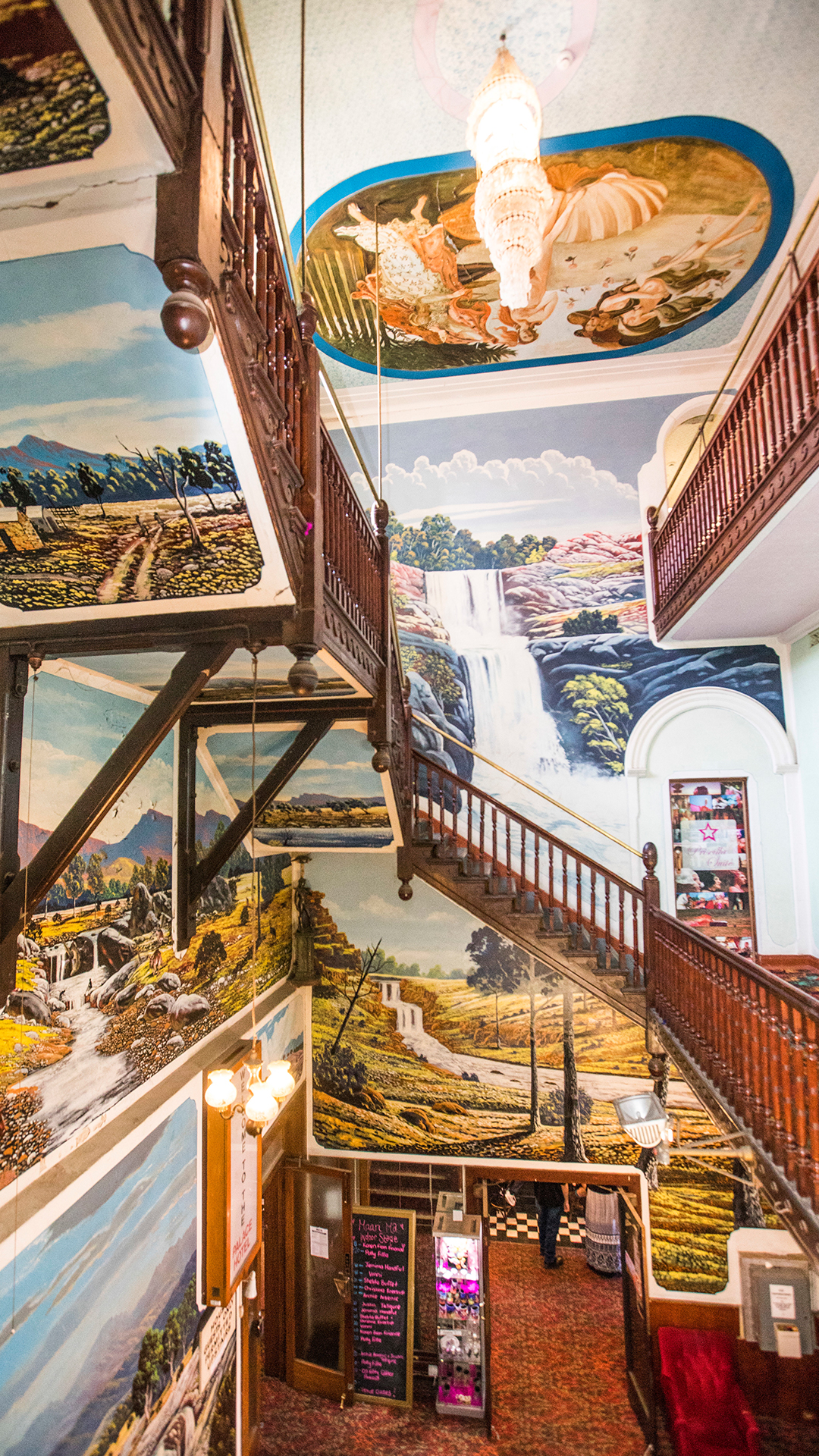 staircase with mural