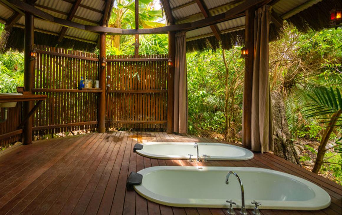 two baths in a deck