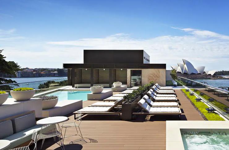 rooftop pool on sydney hotel overlooking harbour
