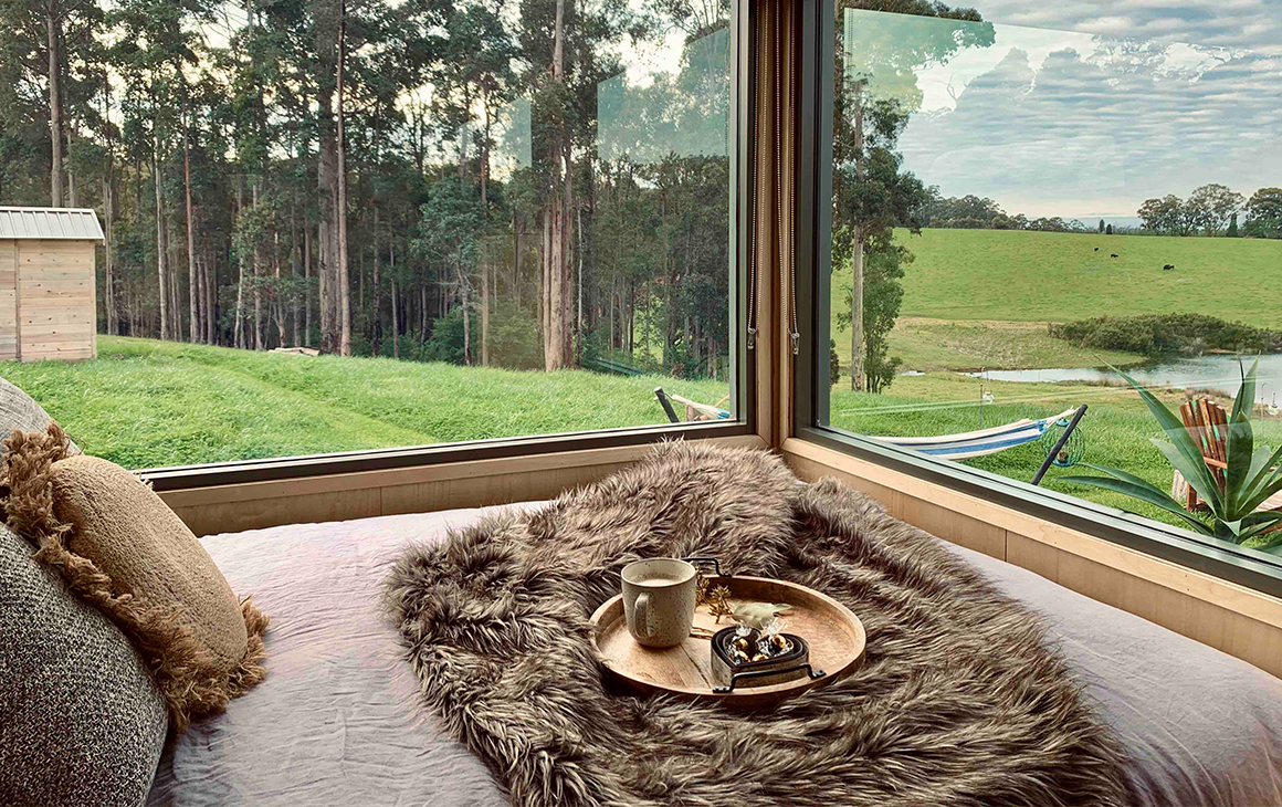 A bed overlooks framed by windows, looking out at the bush