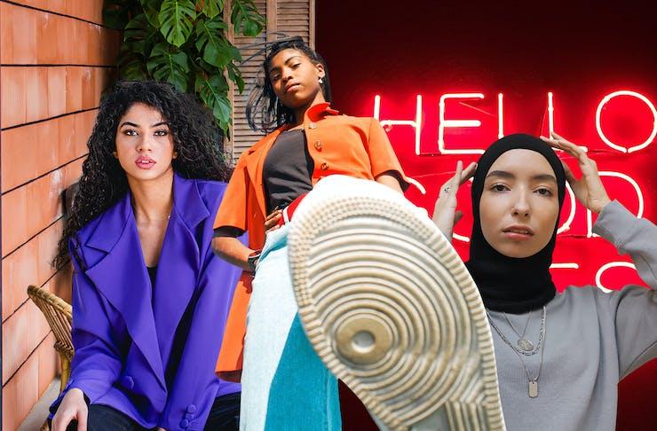collage of women posing