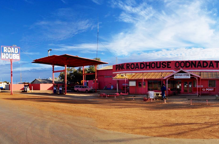 street view of south australia's pink roadhouse pub