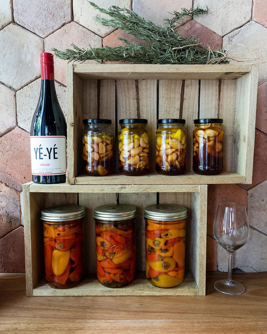 shelf of pickles