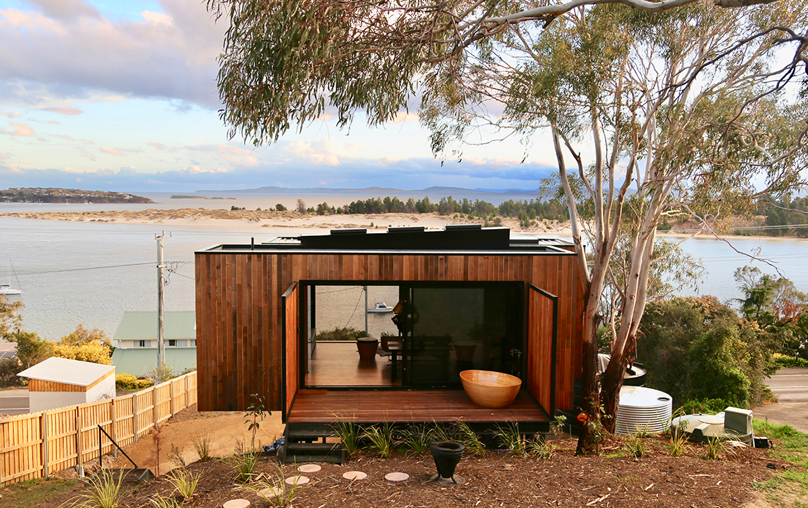 The exterior of The Pod in Tasmania