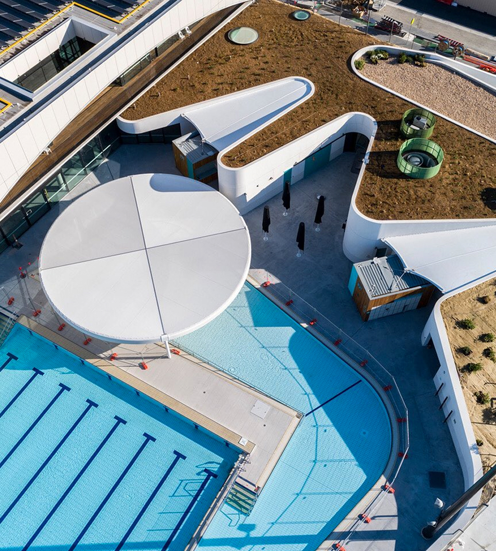 aerial of outdoor pool