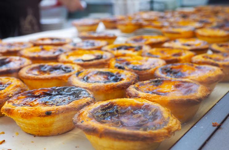 portuguese tarts on shop shelf