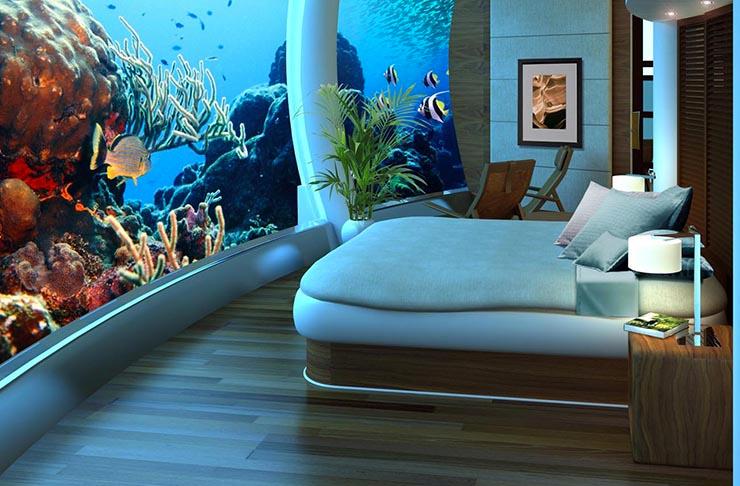 underwater bedroom part of poseidon underwater resort