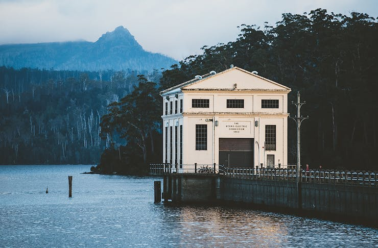 The exterior of Pumphouse Point at dusk.