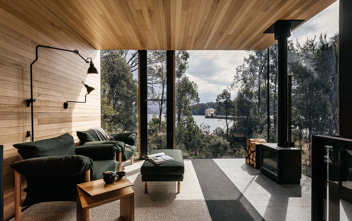 the wooden interior of Pumphouse Point Hotel