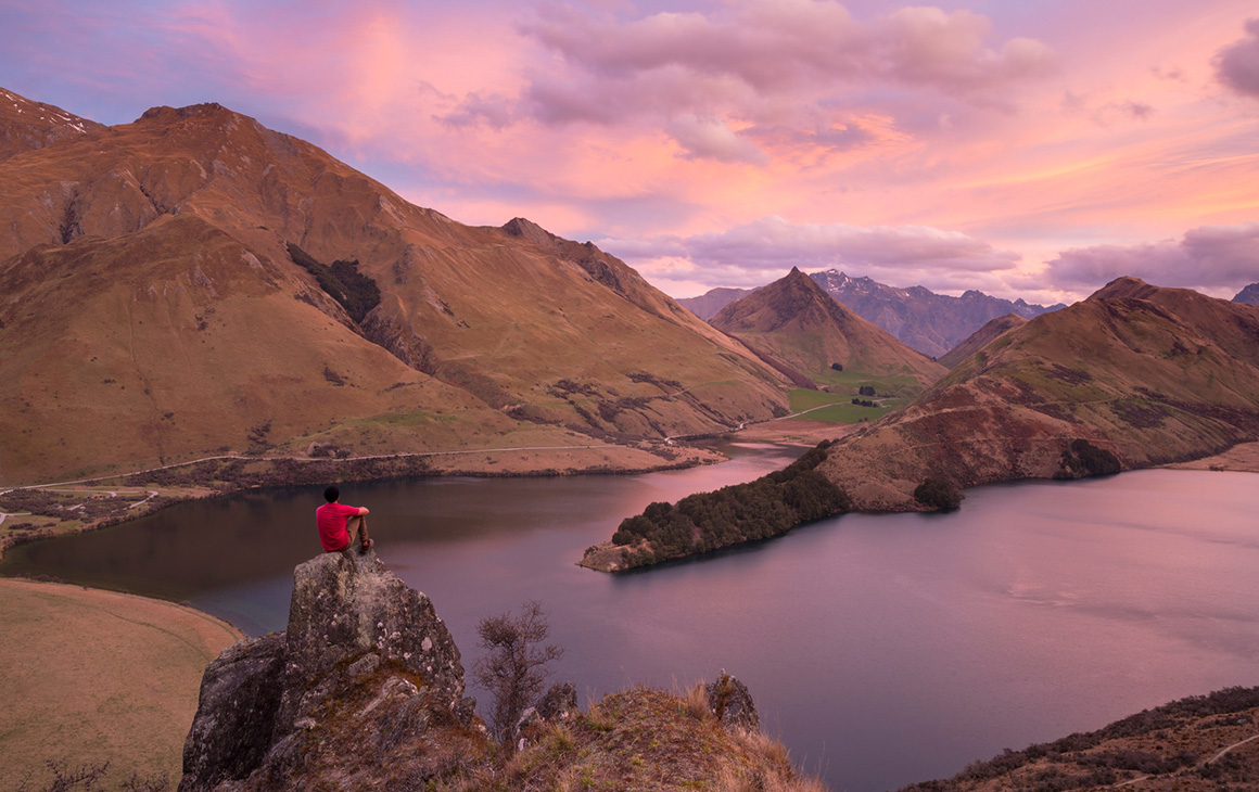 a dusty pink sunset in Queenstown