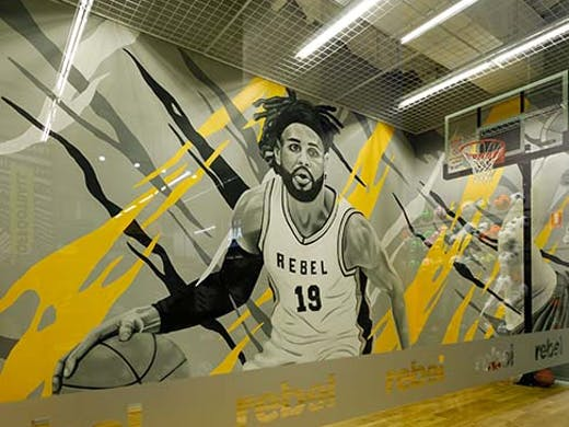 basketball court with mural of basketball player painted by James Small
