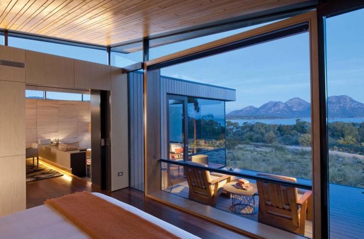 modern hotel room overlooking tasmania's coles bar