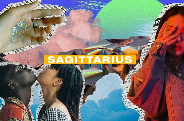 a colourful collage of images with the text Sagittarius on top.