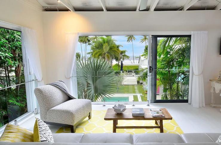 interior of studio overlooking pool