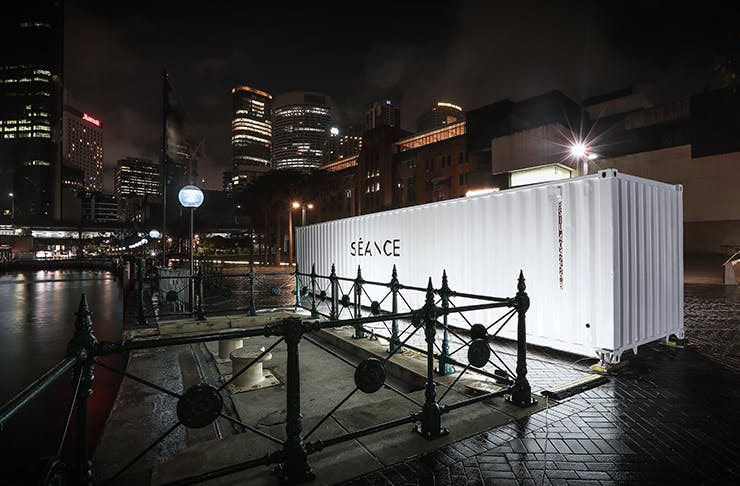 large shipping container in the middle of city