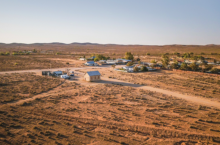 aerial shot of outback town