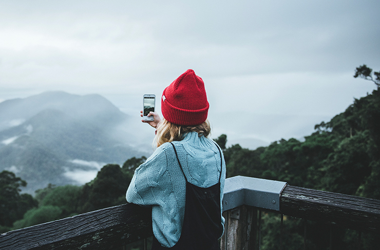 girl with phone looking out at skywalk lookout in dorrigo national parl