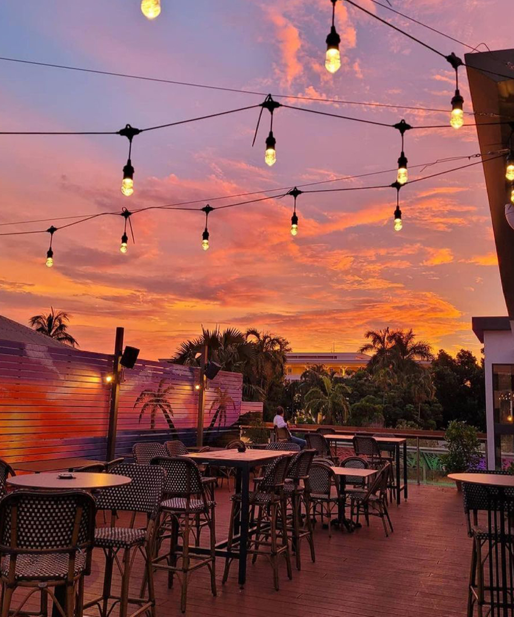 A dreamy pink sunset on the rooftop of Smith Street Social