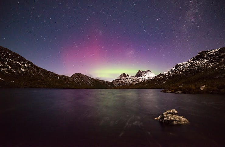 The Southern Lights in all their glory over Cradle Mountain