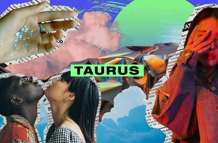 a colourful collage of images with the text Taurus on top.